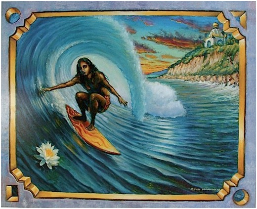 Surfing Swami Ocean Wave Art Painting Fantasy